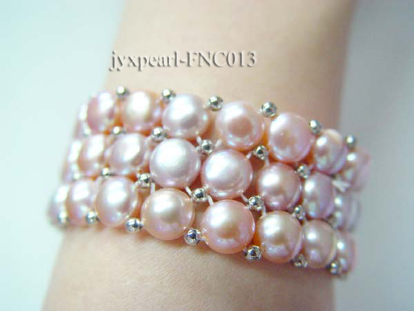 6.5-7mm Lavender Freshwater Pearl Choker Necklace and Bracelet Set big Image 3