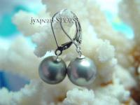 12mm dark gray round the south seashell pearl earring with S925 hook SPE053