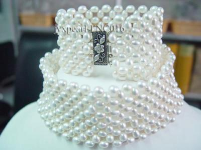 6-7mm White Freshwater Pearl Choker Necklace and Bracelet Set FNC016 Image 1