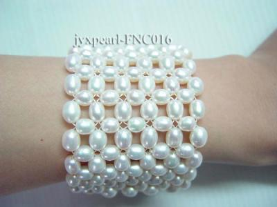 6-7mm White Freshwater Pearl Choker Necklace and Bracelet Set FNC016 Image 3
