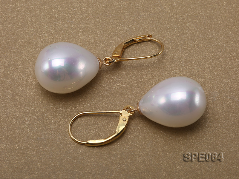 12x17mm gorgeous white teardrop seashell pearl earrings in sterling silver big Image 5