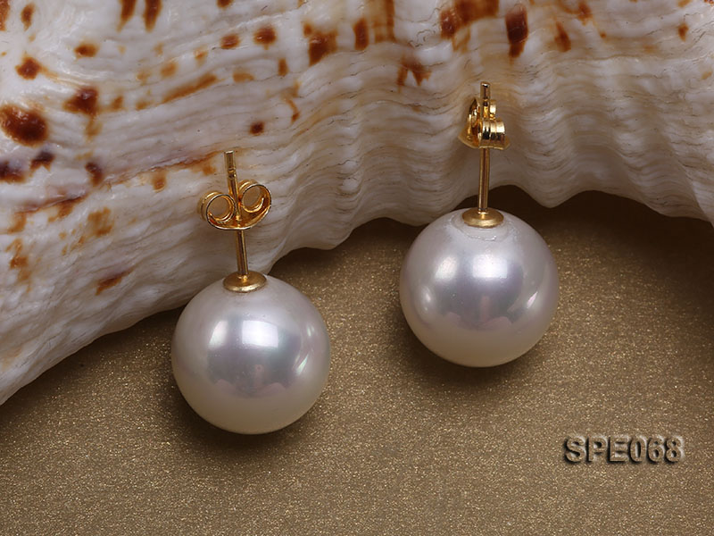 Classic 12mm white round seashell pearl earrings in sterling silver big Image 2