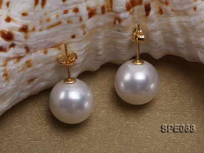 Classic 12mm white round seashell pearl earrings in sterling silver SPE068 Image 2