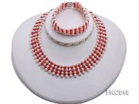5-5.5mm White Freshwater Pearl and Red Crystal Beads Choker Necklace and Bracelet Set FNC018