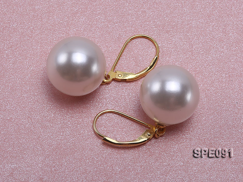 Shiny 14mm white round seashell pearl earrings big Image 2