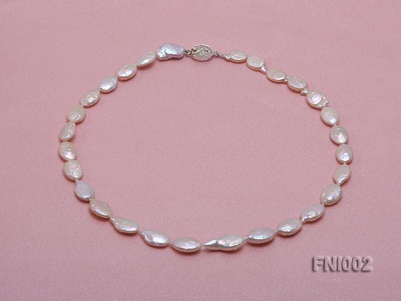 Classic 11x16mm Pink Irregular Freshwater Pearl Necklace with 4mm White Round Pearls big Image 1
