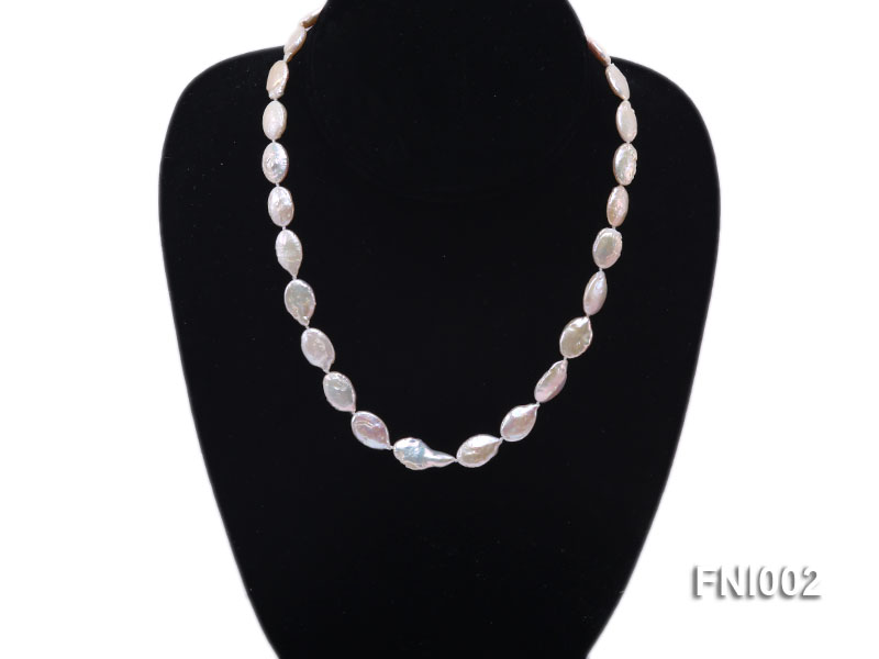 Classic 11x16mm Pink Irregular Freshwater Pearl Necklace with 4mm White Round Pearls big Image 2