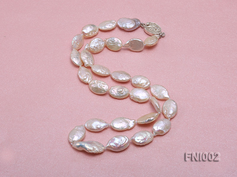 Classic 11x16mm Pink Irregular Freshwater Pearl Necklace with 4mm White Round Pearls big Image 5