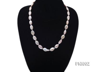 Classic 11x16mm Pink Irregular Freshwater Pearl Necklace with 4mm White Round Pearls FNI002 Image 2