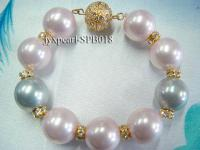 16mm colorful round seashell pearl bracelet SPB018