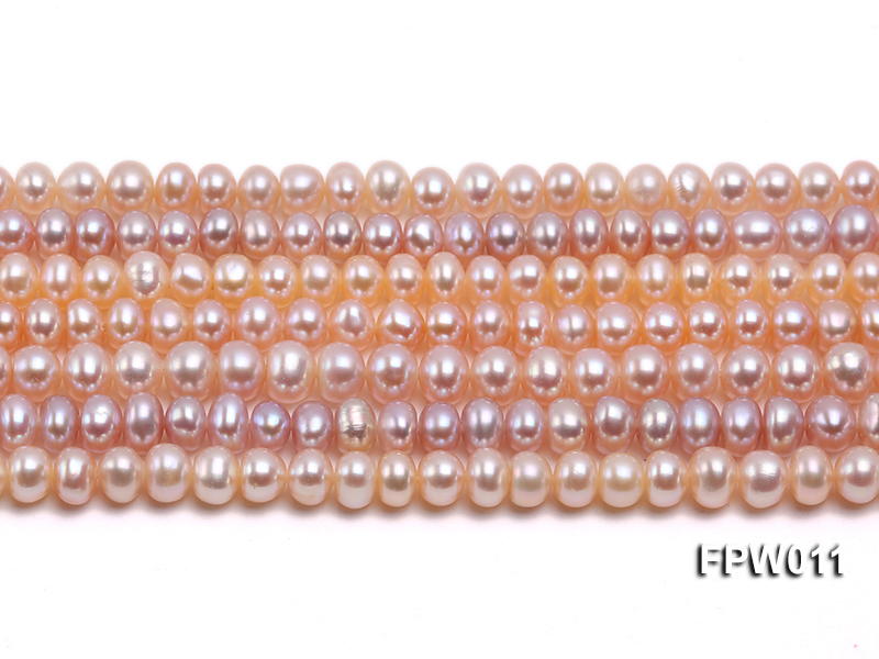 Wholesale 5x5.5mm Pink Flat Cultured Freshwater Pearl String big Image 1