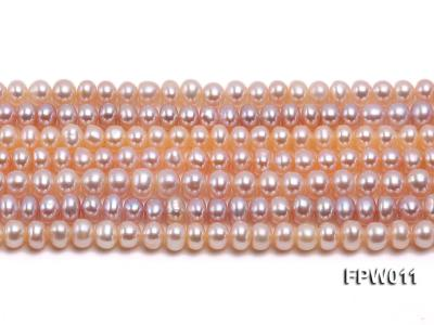 Wholesale 5x5.5mm Pink Flat Cultured Freshwater Pearl String FPW011 Image 1