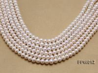 Wholesale 7.5x9mm Classic White Flat Cultured Freshwater Pearl String FPW012