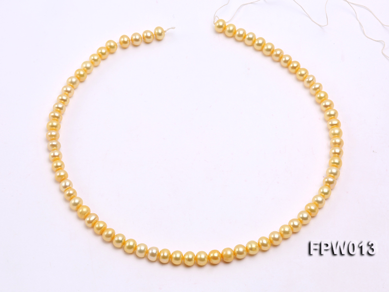 Wholesale 6.5x7.5mm  Flat Cultured Freshwater Pearl String big Image 3