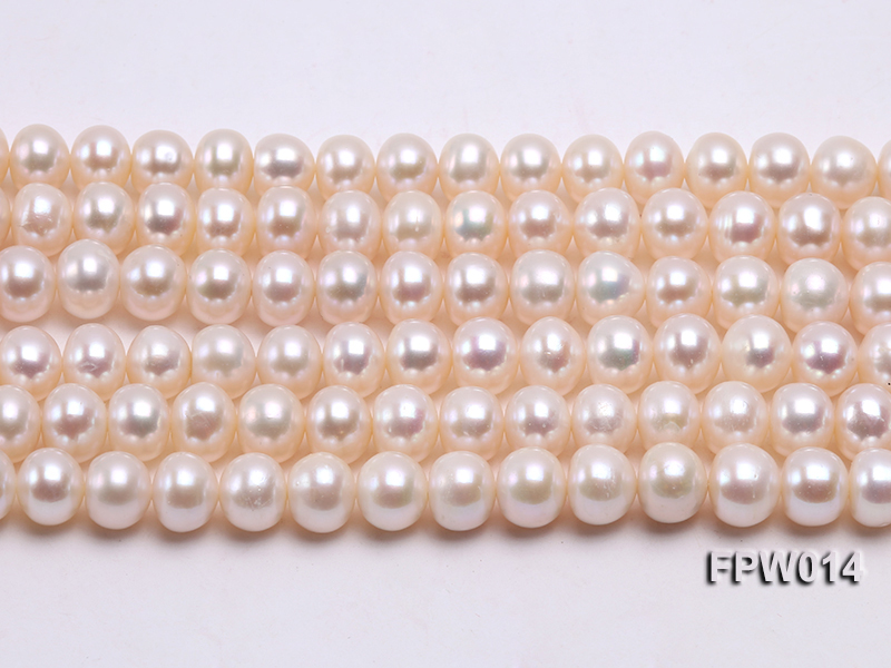 Wholesale 7.5x9mm Classic White Flat Cultured Freshwater Pearl String big Image 2