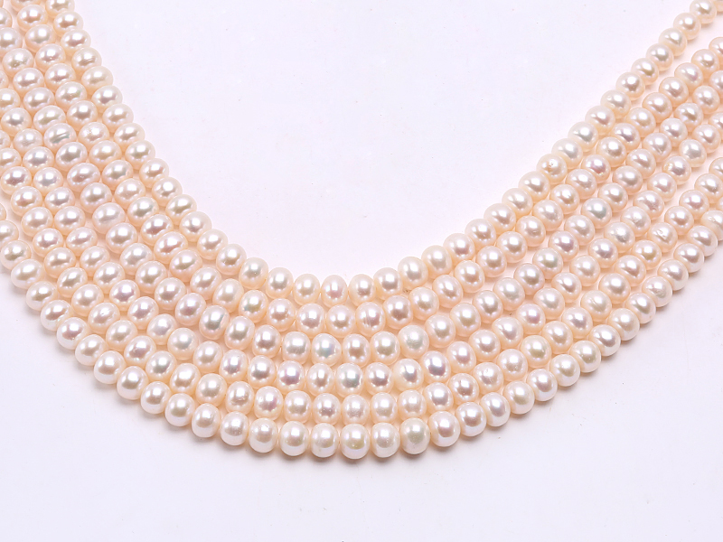 Wholesale 7.5x9mm Classic White Flat Cultured Freshwater Pearl String big Image 3