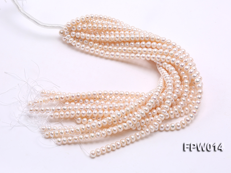 Wholesale 7.5x9mm Classic White Flat Cultured Freshwater Pearl String big Image 4