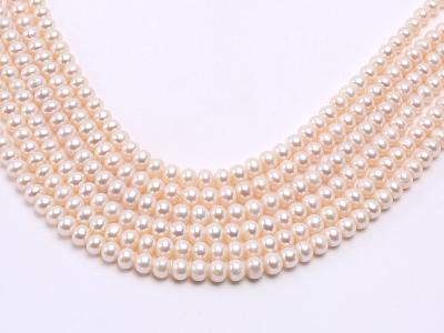 Wholesale 7.5x9mm Classic White Flat Cultured Freshwater Pearl String FPW014 Image 1