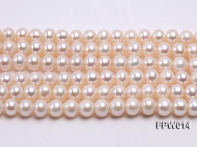 Wholesale 7.5x9mm Classic White Flat Cultured Freshwater Pearl String FPW014 Image 2