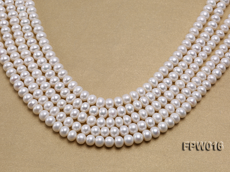 Wholesale 7x9mm White Flat Freshwater Pearl String big Image 1