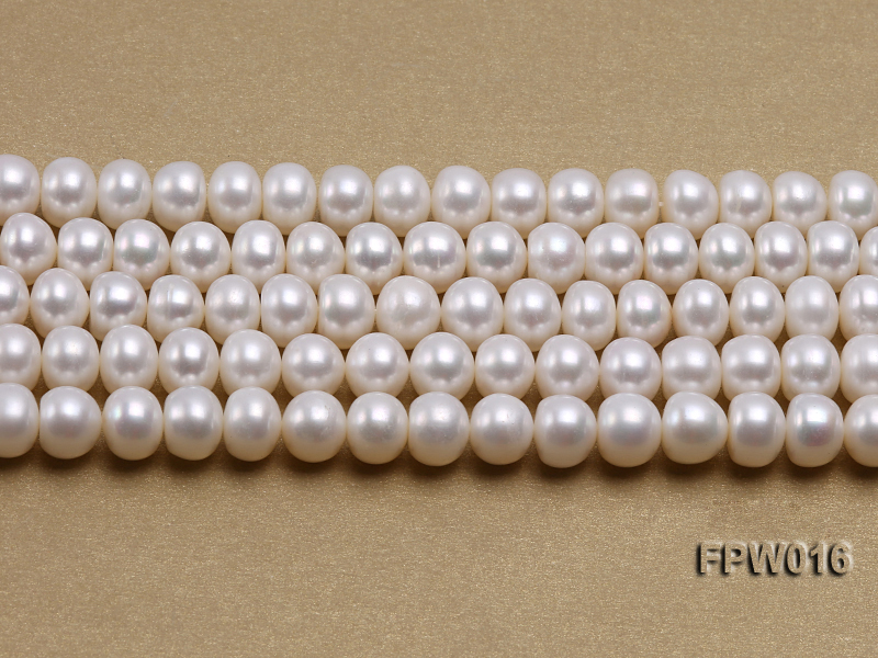 Wholesale 7x9mm White Flat Freshwater Pearl String big Image 2