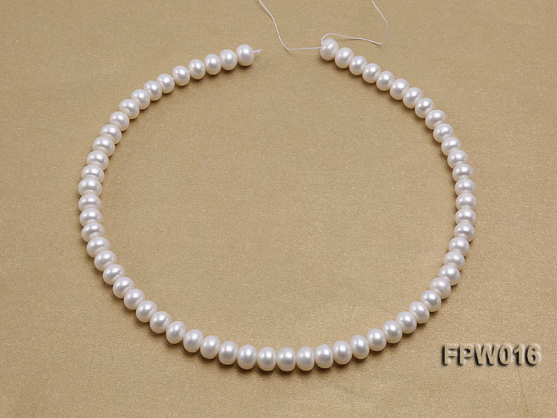 Wholesale 7x9mm White Flat Freshwater Pearl String big Image 3