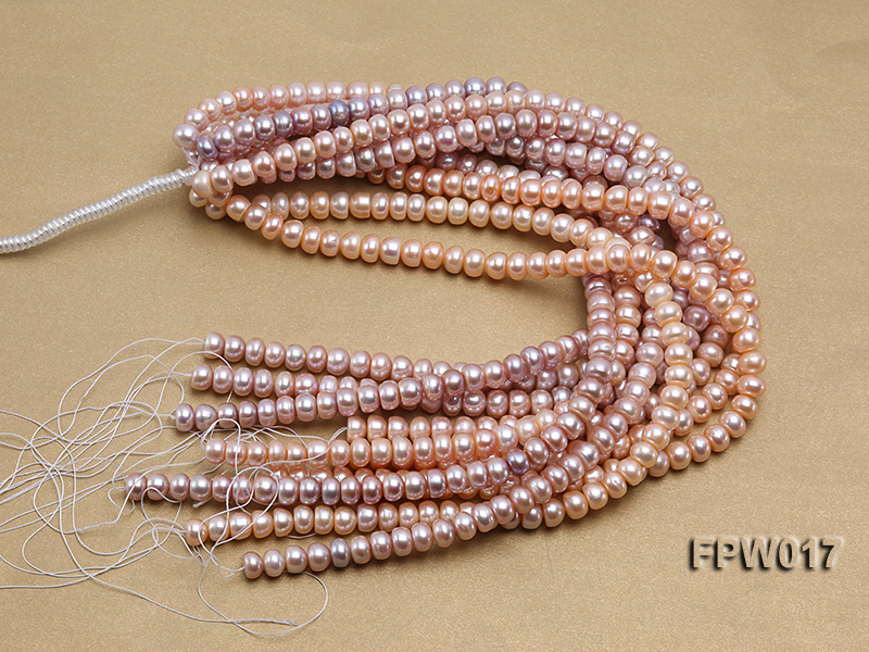 Wholesale 7.5x10mm Flat Freshwater Pearl String big Image 4