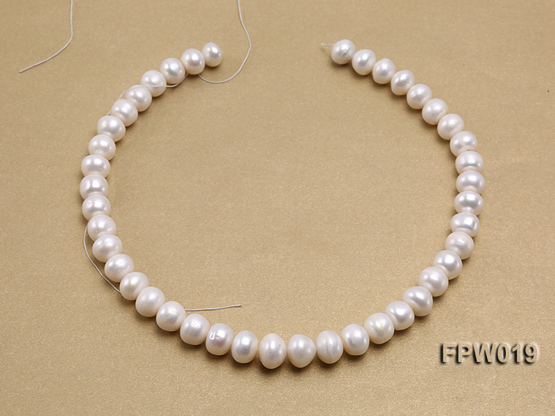 Wholesale 11x12mm Classic White Flat Cultured Freshwater Pearl String big Image 3