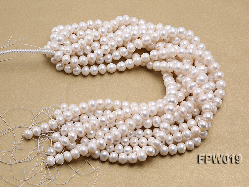 Wholesale 11x12mm Classic White Flat Cultured Freshwater Pearl String big Image 4