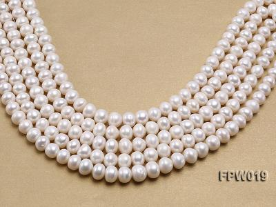 Wholesale 11x12mm Classic White Flat Cultured Freshwater Pearl String FPW019 Image 1