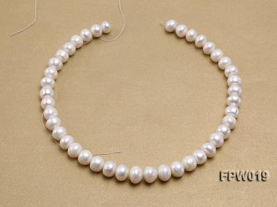 Wholesale 11x12mm Classic White Flat Cultured Freshwater Pearl String FPW019 Image 3