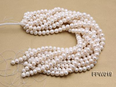 Wholesale 11x12mm Classic White Flat Cultured Freshwater Pearl String FPW019 Image 4