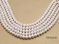 Wholesale 11x12mm Classic White Flat Cultured Freshwater Pearl String FPW019