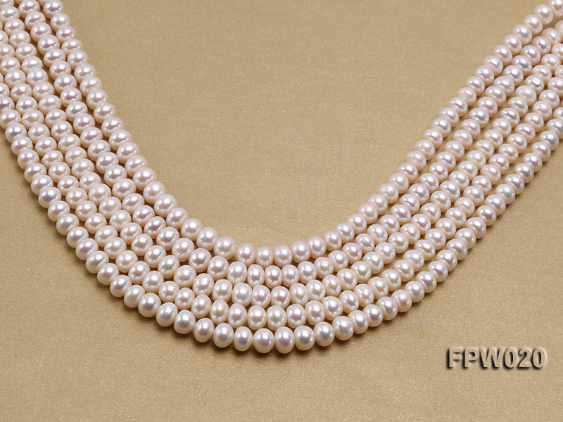 Wholesale 8.5x10mm Classic White Flat Cultured Freshwater Pearl String big Image 1