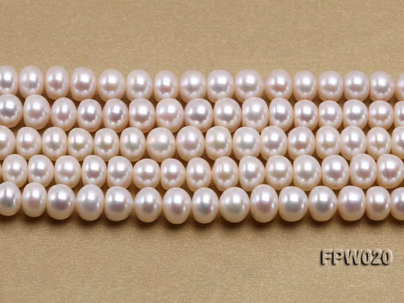 Wholesale 8.5x10mm Classic White Flat Cultured Freshwater Pearl String big Image 2