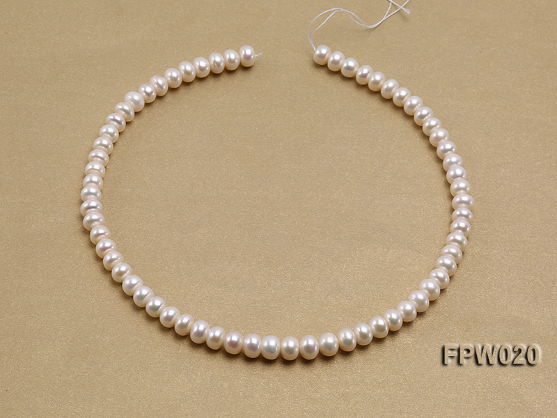 Wholesale 8.5x10mm Classic White Flat Cultured Freshwater Pearl String big Image 3