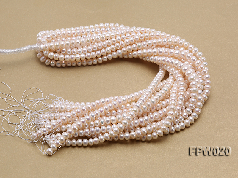 Wholesale 8.5x10mm Classic White Flat Cultured Freshwater Pearl String big Image 4