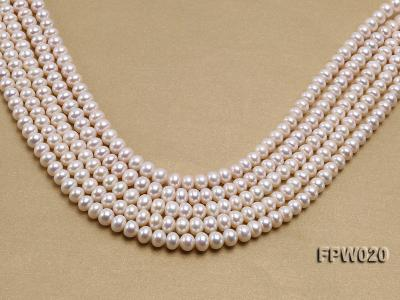 Wholesale 8.5x10mm Classic White Flat Cultured Freshwater Pearl String FPW020 Image 1
