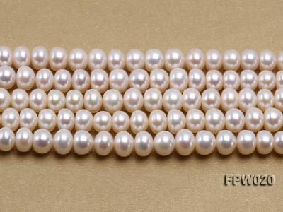 Wholesale 8.5x10mm Classic White Flat Cultured Freshwater Pearl String FPW020 Image 2