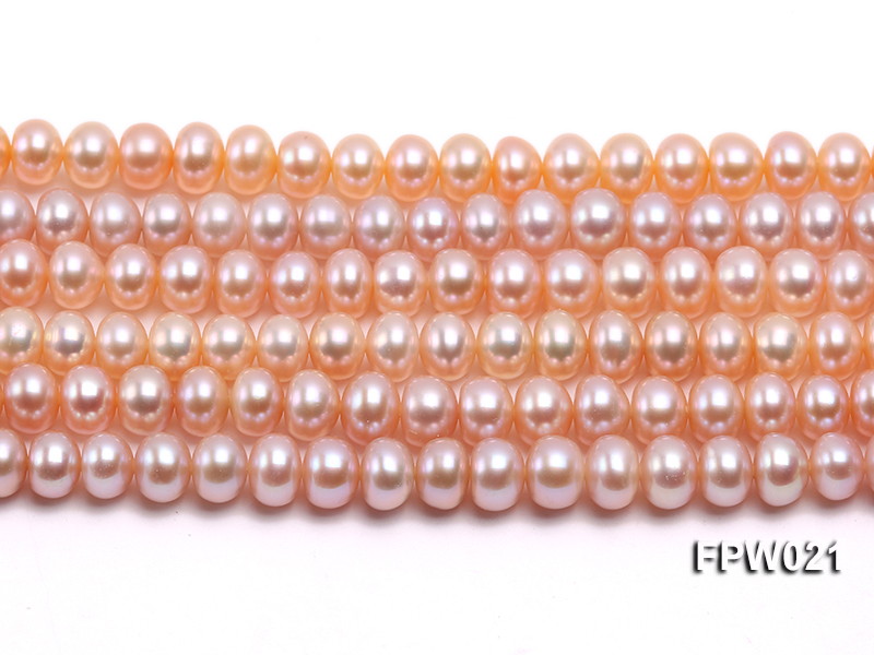 Wholesale 6.5x8mm Natural Pink Flat Cultured Freshwater Pearl String big Image 1