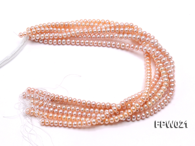 Wholesale 6.5x8mm Natural Pink Flat Cultured Freshwater Pearl String big Image 4