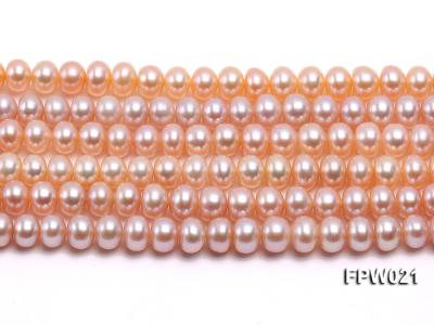 Wholesale 6.5x8mm Natural Pink Flat Cultured Freshwater Pearl String FPW021 Image 1