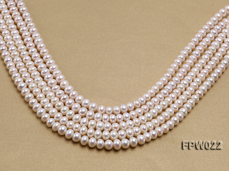 Wholesale 7x9mm Classic White Flat Cultured Freshwater Pearl String big Image 1