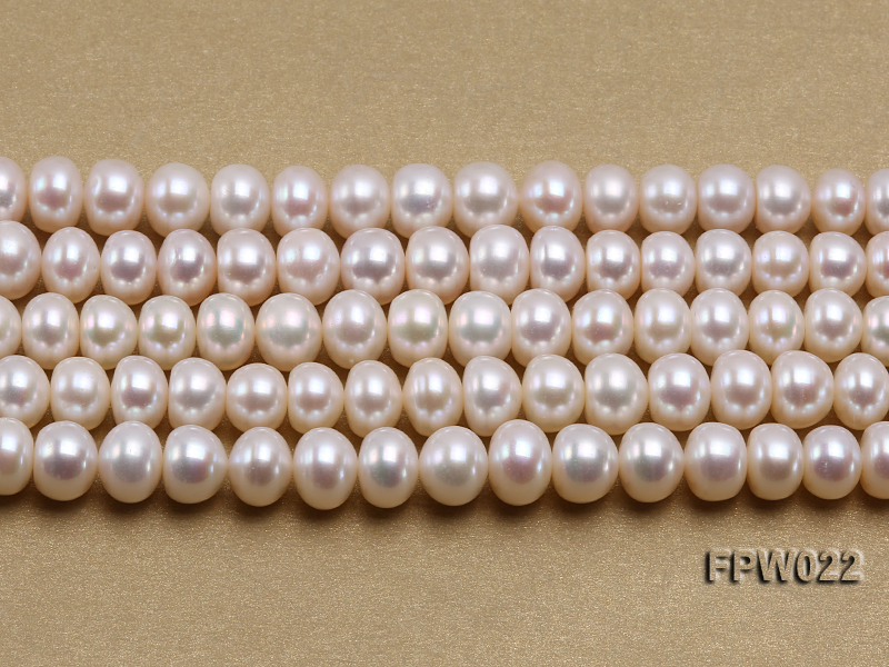 Wholesale 7x9mm Classic White Flat Cultured Freshwater Pearl String big Image 2