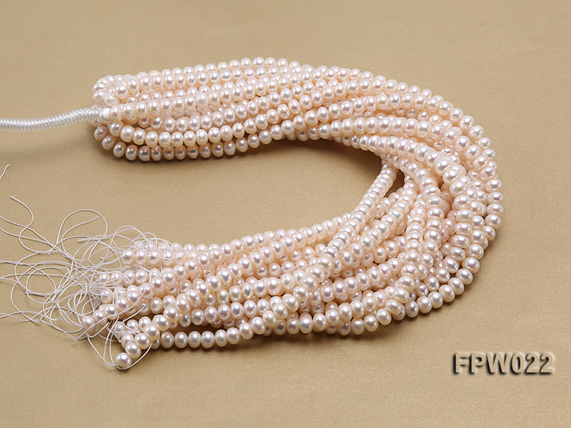 Wholesale 7x9mm Classic White Flat Cultured Freshwater Pearl String big Image 4