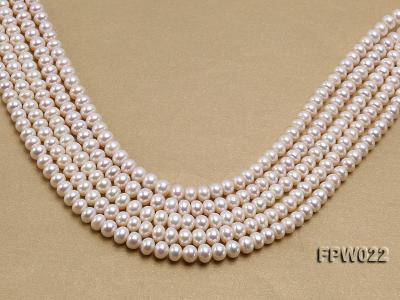 Wholesale 7x9mm Classic White Flat Cultured Freshwater Pearl String FPW022 Image 1