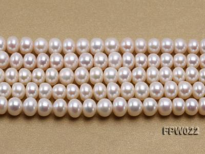 Wholesale 7x9mm Classic White Flat Cultured Freshwater Pearl String FPW022 Image 2