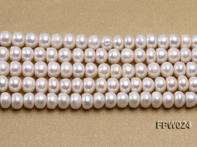 Wholesale 8.5x10mm Classic White Flat Cultured Freshwater Pearl String FPW024 Image 2