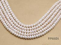 Wholesale 8.5x10mm Classic White Flat Cultured Freshwater Pearl String FPW024
