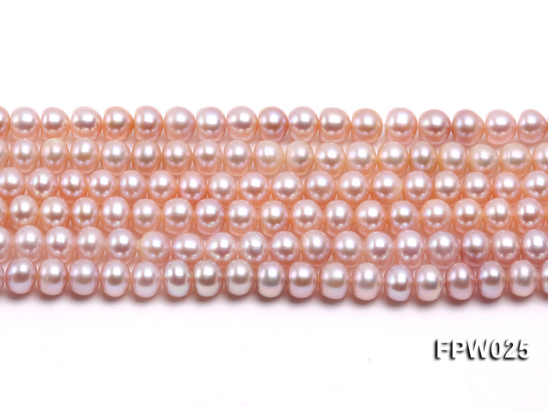 Wholesale 6x7mm Pink Flat Cultured Freshwater Pearl String big Image 2